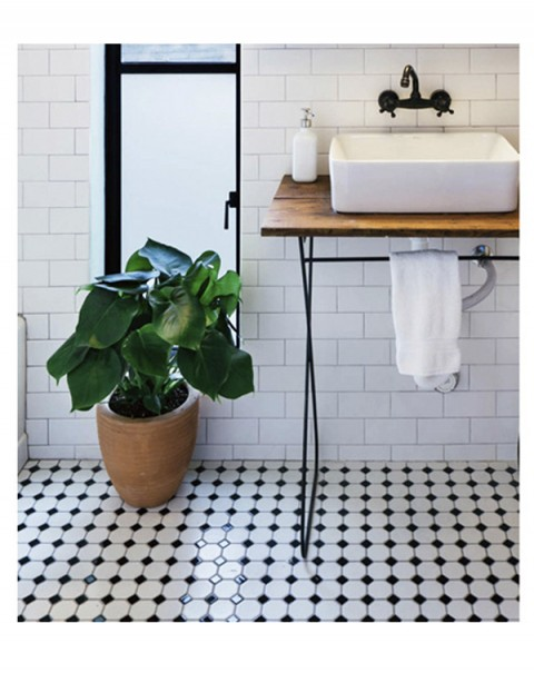 Black Rhombus White Octagonal Ceramic Tile