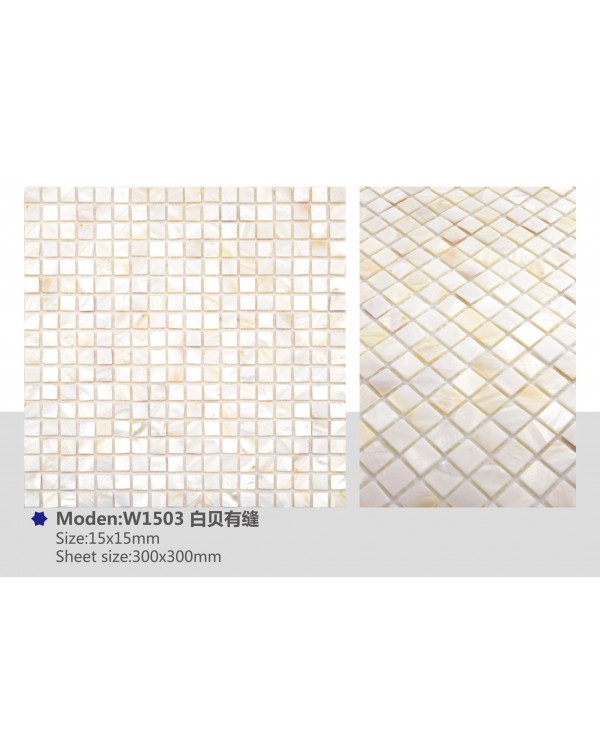 MOP pure white (with joint) – 15x15mm chip – W...