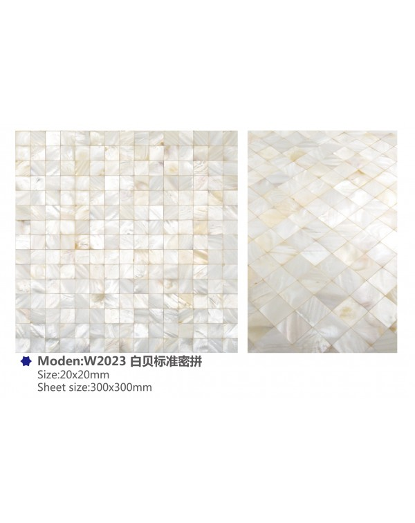 MOP pure white (jointless) – 20x20mm chip – W2...