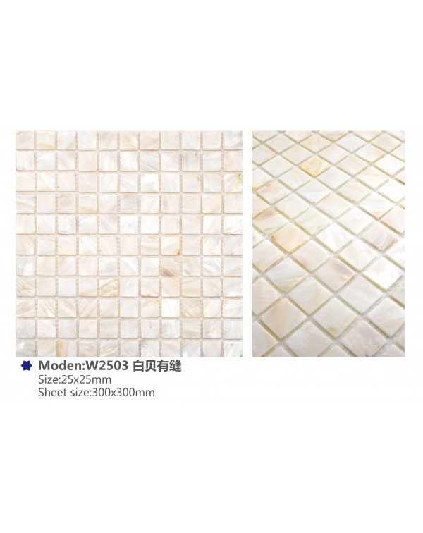 MOP pure white (with joint) – 25x25mm chip – W...